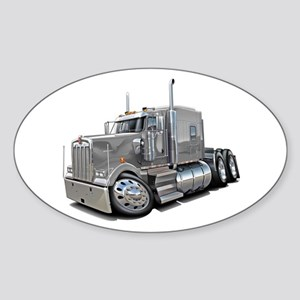 Kenworth W900 Silver Truck Sticker (Oval)